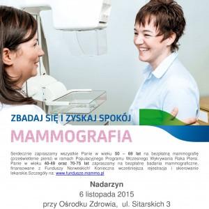 Bezpłatna mammografia w Nadarzynie –  6 listopada 2015 roku.