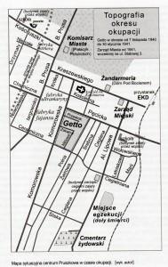 """Mapa na której widoczny jest teren getta. Źródło: M. Skwara """"Pruszkowscy Żydzi"""""""